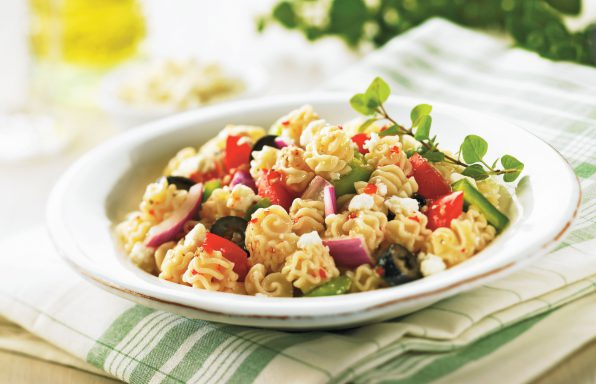 Radiatore-Greek-Pasta-Salad-596x384 Recipes