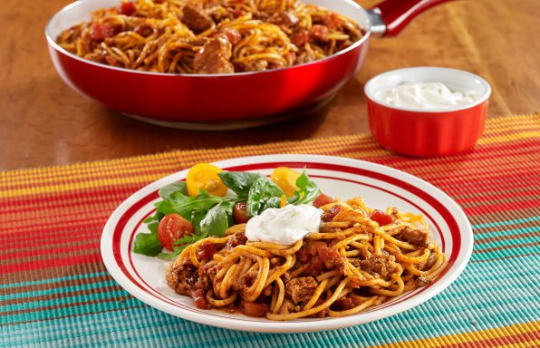Taco-Spaghetti-Skillet-596x384 Recipes